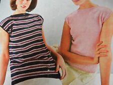 "Knitting Pattern Womens Ladies Short Sleeve Sweater Jumper 32-40"" Chest 2 DK"