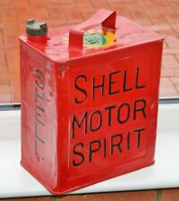 """Vintage 1930's """"SHELL MOTOR OIL"""" Painted 3/- 2 Gallon Petrol Can with Brass Cap"""
