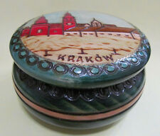 "Wooden trinket box with lid round carved painted Krakow Poland 4"" dia souvenir"