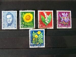SWITZERLAND,1961,CHILDRENS FUND,FLOWERS,ETC,5 VALS,USED,EXCELLENT.