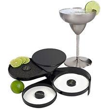 Black Cocktail Glass Rimmer Adding Salt Sugar Lemon Margarita Glasses 3 Trays