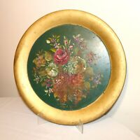 HUGE antique hand painted tole ware metal centerpiece floral serving tray dish