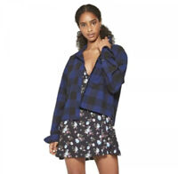 New Wild Fable Womans Long Sleeve Cropped Plaid Flannel Shirt Sz Small NWT