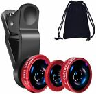 Universal 3in1 Camera Lens Kit SmartPhone Including Fish Eye/Macro/WideAngle RED