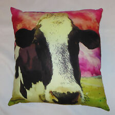 "Cow Power Throw Pillow 19""x18"" Polyester Defy Brand Bold Colors New Zip Back"