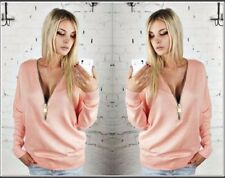 Womens Deep V-Neck Zipper Long Sleeve Casual Hoodies Jumper Pullover Blouse Tops