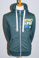 Superdry Retro Sport 77 Mens Green Marl Full Zip Hooded Sweatshirt Hoodie  Small