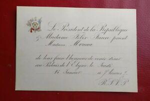 Carton D Invitation President Of La Republic Félix Faure 1895