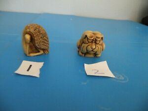 Tagua Nut Carved BULLDOG  Egret 2 styles PICK 1 F17-F18