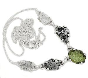 Genuine Czech Moldavite & Herkimer Diamond 925 Sterling Silver Necklace SN18628