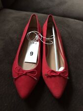 NEW MERONA NOELE Pointed Toe Ballet Flats Shoes Red Size 9