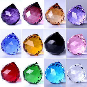 Hanging Crystal Ball Feng Shui Sphere Prism Faceted Chandelier Lamp Part Pendant