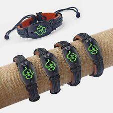A Black Leather Wristband OM OHM AUM YOGA HINDI OMKARA SYMBOL Charm Bracelet