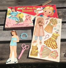 1958 Whitman Magic Stay On Dresses With Stand Up Doll & Scissors