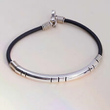 "6.5"", Vintage black rubber chain with sterling 925 silver bar"