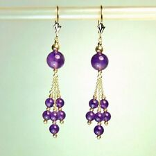 14k solid yellow gold 8 and 4mm natural Amethyst earrings leverback 3.5 grams