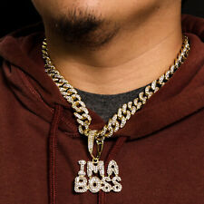 "Iced Miami Cuban Choker Chain 20"" Necklace Link Im A Boss Word 14k Gold Pt Fully"