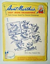 Aunt Martha's Gay Colonial Miss Embroidery Needlepoint Iron on Transfers