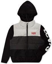 Levi's Big Boys Colorblocked Hooded Logo Vest- GREY-SIZE:XL-NWT