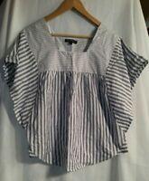 Women's Blue White Striped Short Sleeve Tee Top Shirt Size Medium New