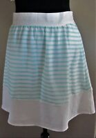 c6fa818256 Cremieux Size 8 STELLA in White/Spa Striped A-Line Skirt Side Zip Pocket