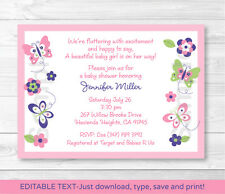 Pink Beautiful Butterfly Paradise Printable Baby Shower Invitation Editable PDF