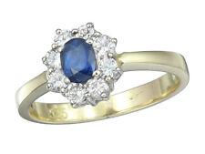 Ring Saphir Brillanten 585er Gold Zweifarbig