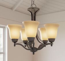 HAMPTON BAY 5-Light Rustic Iron Chandelier with Antique Ivory Glass Shades