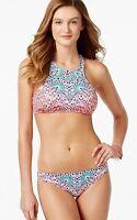 Bar III Size L Atlas High Neck Bra Top  Tab Side Bikini Brief Swimsuit Multi NWT