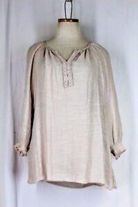SPENSE Tunic Top LARGE Beige V Neck Lace Trim BOHO Crinkle Rayon 3/4 Sleeve