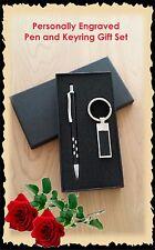 Personalised Engraved Metal Pen & Keyring Gift Box Set Wedding Favour Bomboniere