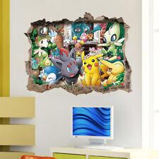 Large Pokemon Wall Crack Sticker Pikachu Mural PVC Decal Kids Childs Room Decor