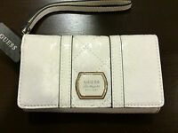 GUESS Wallet Multi Wristlet Clutch Cellphone 6  With G Logo White Very Rare NWT