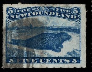 #40 Rouletted 5c Newfoundland Canada used well centered