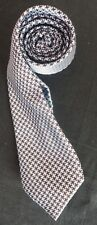 ST GEORGE BY DUFFER WOVEN SILK TIE BABY BLUE & BROWN ON A DOGTOOTH BACKGROUND