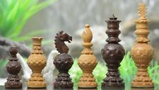 "Spherical Series Handcarved Chess Pieces in Shesham & Box Wood -5.2"" M0042"