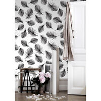 Hand-drawn feathers Removable wallpaper black and white wall mural self adhesive