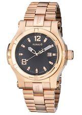 New Mens Big Renato Swiss ETA 2824 Automatic Rose Gold Trex Black Dial Watch
