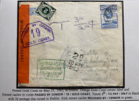 1942 Gold Coast Airmail Censored Cover To Dublin Ireland Postage Due