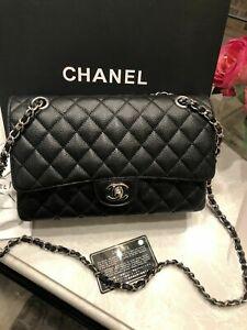 ❆❈-Chanel Classic Black Caviar Medium Double Flap Bag SHW Quilted Shoulder Silve