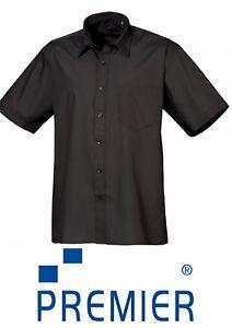 New Premier Short Sleeve Black Poplin Shirt Stiffened Collar PR202 CLEARENCE