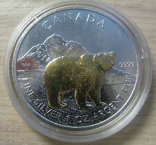 2011 Bullion $5 1oz Grizzly Bear .9999 Silver Maple Leaf gold plate Canada SML