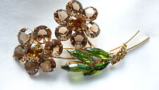 Vintage Double Blossom Flower Open Back Prong Rhinestone Brooch