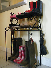 wrought iron shoe rack (handmade), metal welly stand.