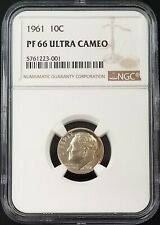 1961 Proof Roosevelt Dime certified PF 66 Ultra Cameo by NGC! Lightly toned!