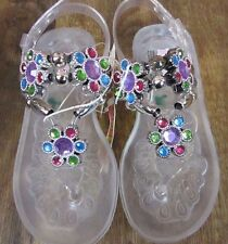 Kidgets girls size 7 sandals NWT clear with gems ankle buckle flip flop light up