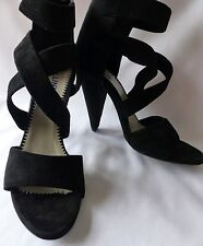 Brand New Pollini Stunning Black Suede High Heeled Shoes/Sandals, UK 5 (EUR 38)