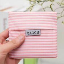 Shopping Folding Reusable Bag Handbag Travel Shoulder Bag Pouch Tote Pink stripe