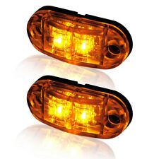 2X Amber LED 2 Diode Light Oval Clearance Trailer Truck Side Marker Lamp 12V/24V