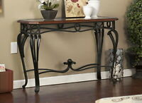 Metal Wood Accent Console Sofa Entry Living Room Glass Top Wrought Iron Legs